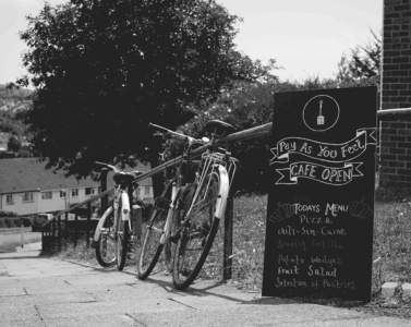 RJF Hollingbean sign and bikes